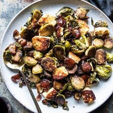 Pan Roasted Brussels Sprouts with Bacon, Dates and Halloumi.