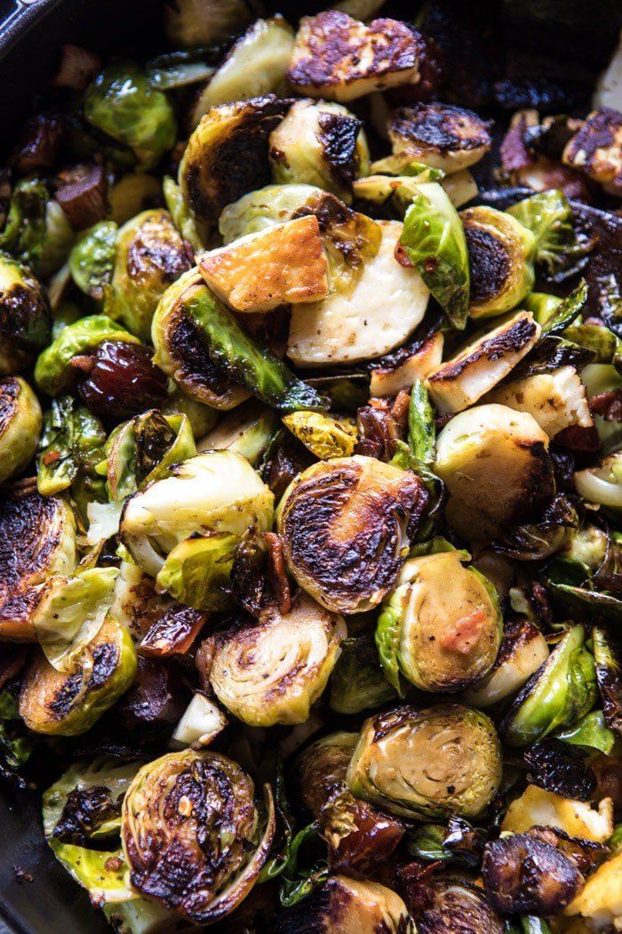 Pan Roasted Brussels Sprouts With Bacon Dates And