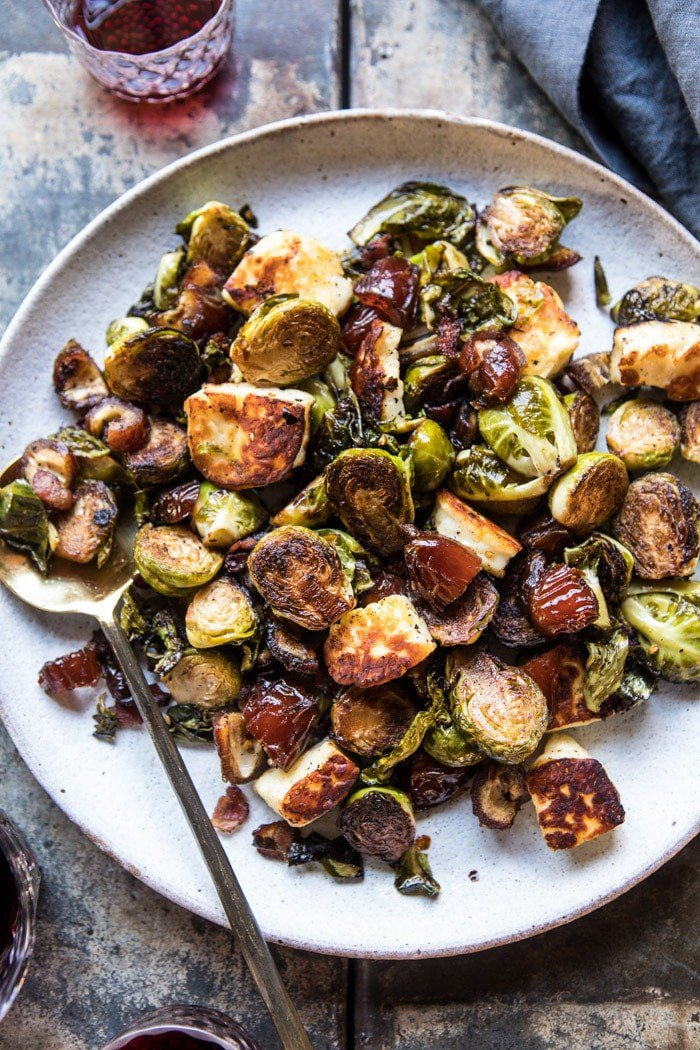 Pan Roasted Brussels Sprouts with Bacon, Dates and Halloumi | halfbakedharvest.com @hbharvest