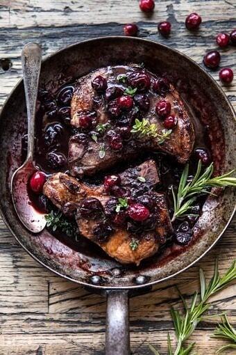 Roasted Cranberry Brown Sugar Pork Chops | halfbakedharvest.com @hbharvest