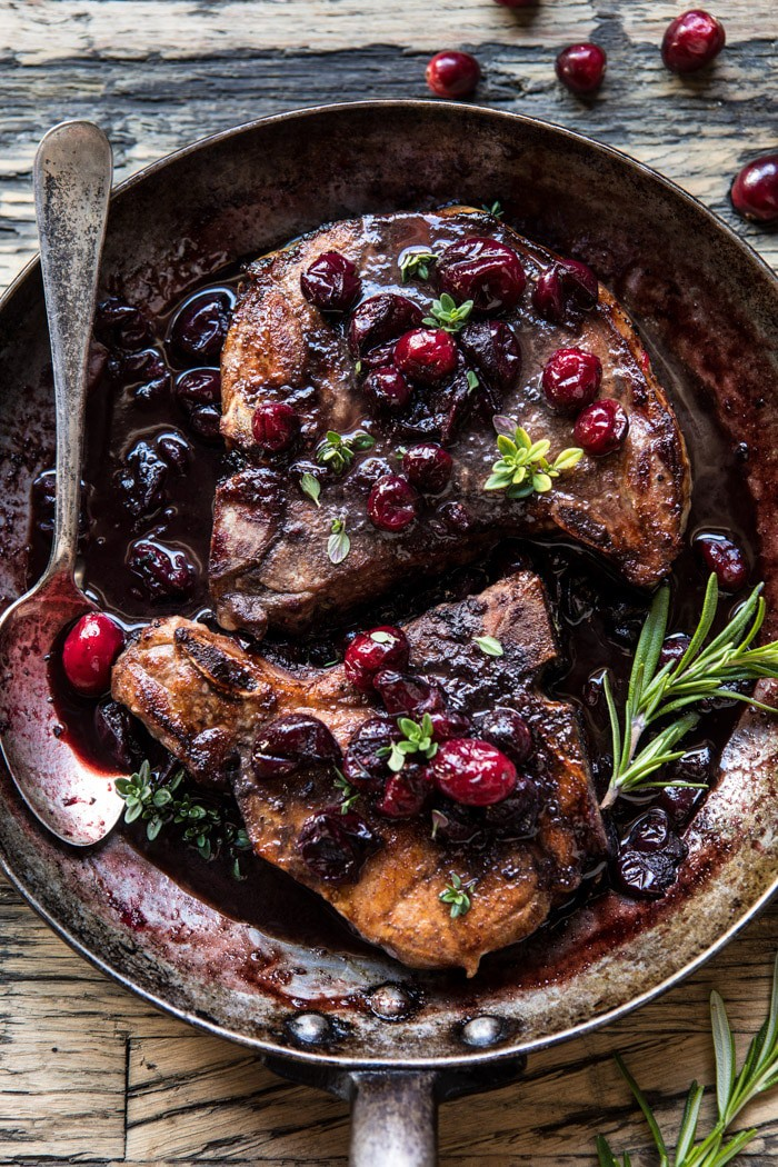 Roasted Cranberry Brown Sugar Pork Chops | halfbakedharvest.com @hbharvest