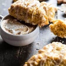 White Chocolate Pumpkin Scones with Espresso Glaze.