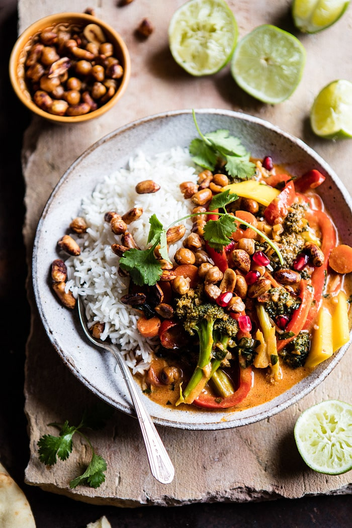 Thai Veggie Curry with Crispy Chickpeas and Pomegranate | halfbakedharvest.com @hbharvest