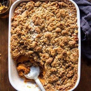 Cinnamon Streusel Swirled Maple Sweet Potato Casserole.