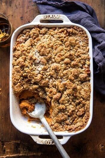 Cinnamon Streusel Swirled Maple Sweet Potato Casserole.