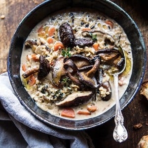 Slow Cooker Creamy Wild Rice Soup with Butter Roasted Mushrooms.