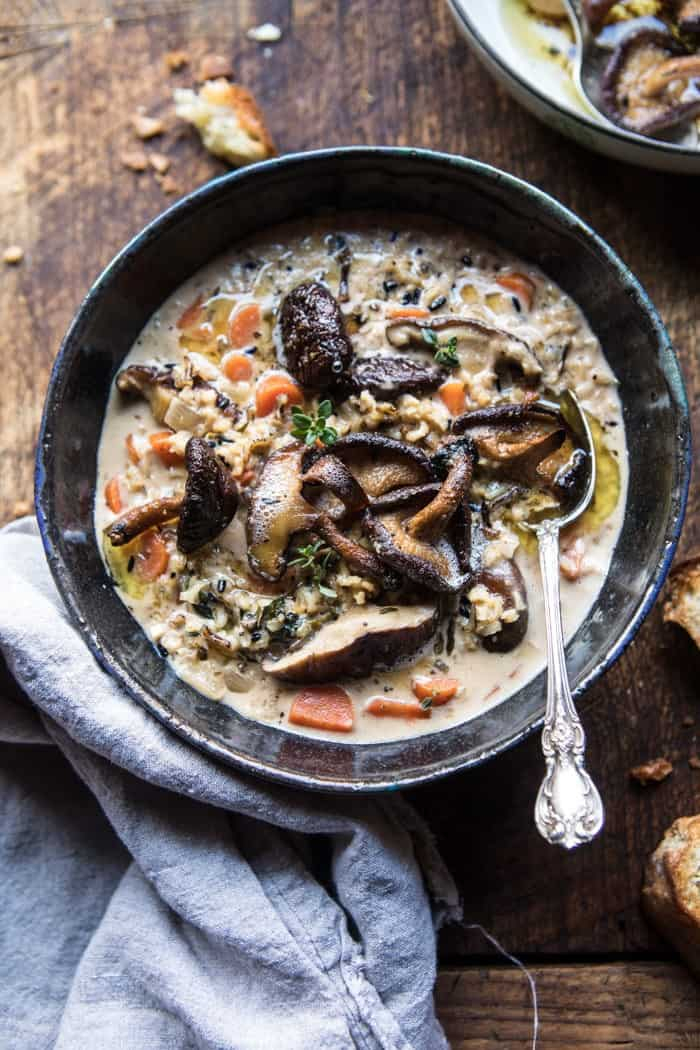Slow Cooker Creamy Wild Rice Soup With Butter Roasted