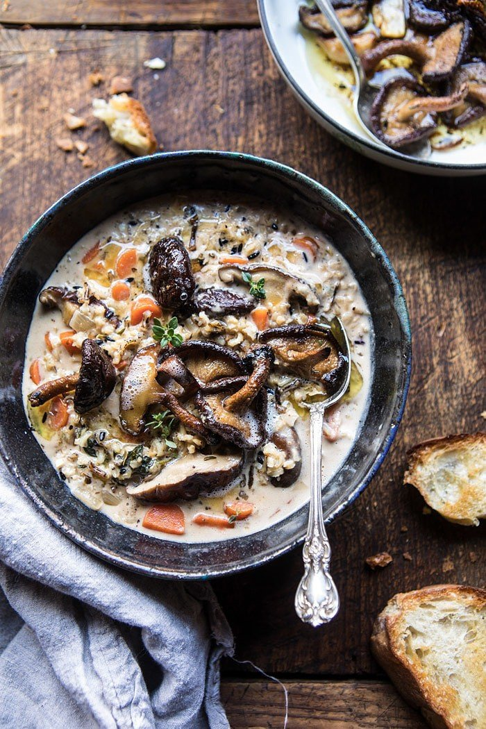 Slow Cooker Creamy Wild Rice Soup with Butter Roasted Mushrooms | halfbakedharvest.com @hbharvest