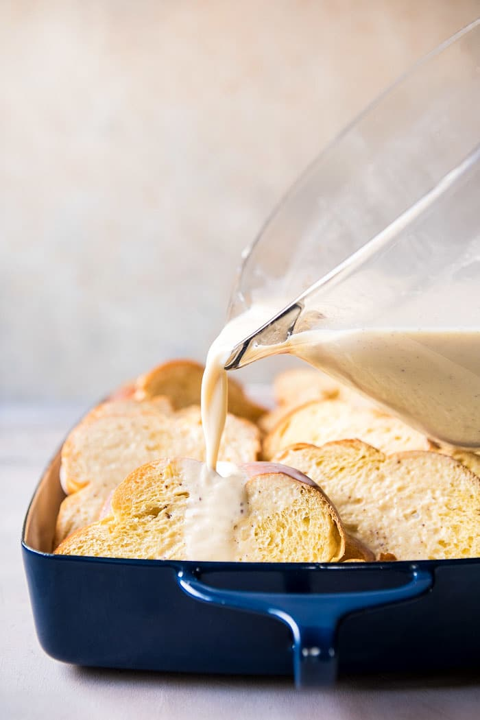 Baked Cinnamon Creme Brulee French Toast with Raspberry Preserves | halfbakedharvest.com @hbharvest
