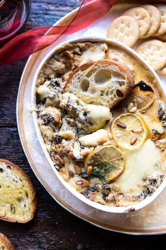 Roasted Lemon Spinach and Artichoke Dip | halfbakedharvest.com @hbharvest