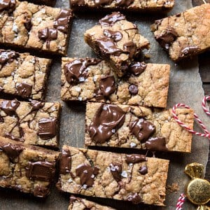 Salted Milk Chocolate and Peanut Butter Blondies.