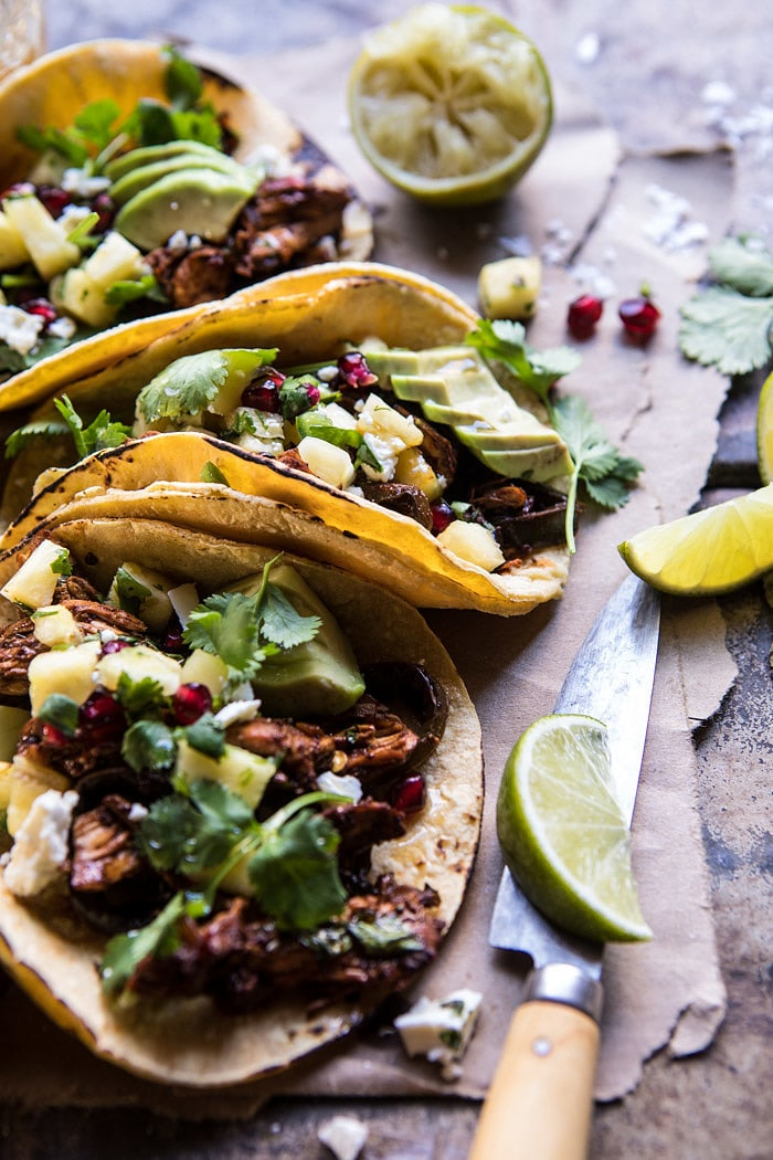Instant Pot Spicy Pineapple Chicken Tacos | halfbakedharvest.com @hbharvest
