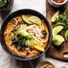 20 Minute Peanut Noodle Soup with Lime Mango.