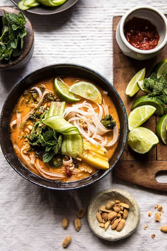 20 Minute Peanut Noodle Soup with Lime Mango | halfbakedharvest.com @hbharvest
