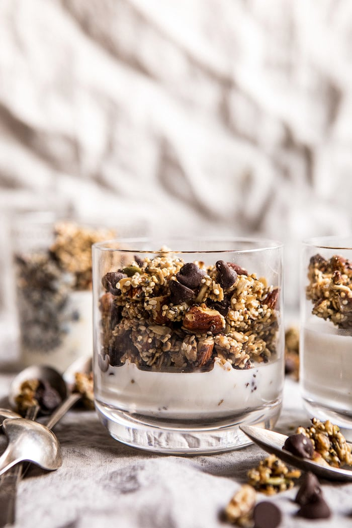 Chewy Chocolate Chip Cookie Granola | halfbakedharvest.com #cookie #granola #breakfast #recipes