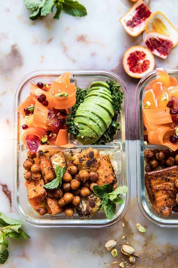 Meal Prep Moroccan Chickpea, Sweet Potato, and Cauliflower Bowls | halfbakedharvest.com #mealprep #vegan #indian #healthy #sheetpan