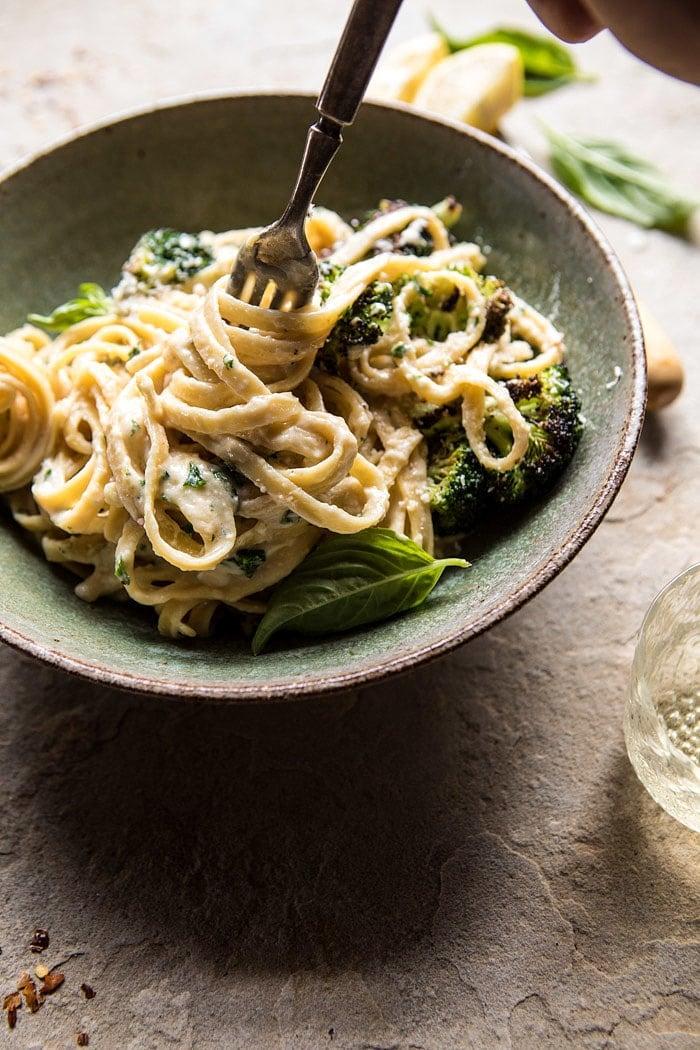No-Guilt Broccoli Fettuccine Alfredo | halfbakedharvest.com @hbharvest #healthy #pasta #Italian #hummus