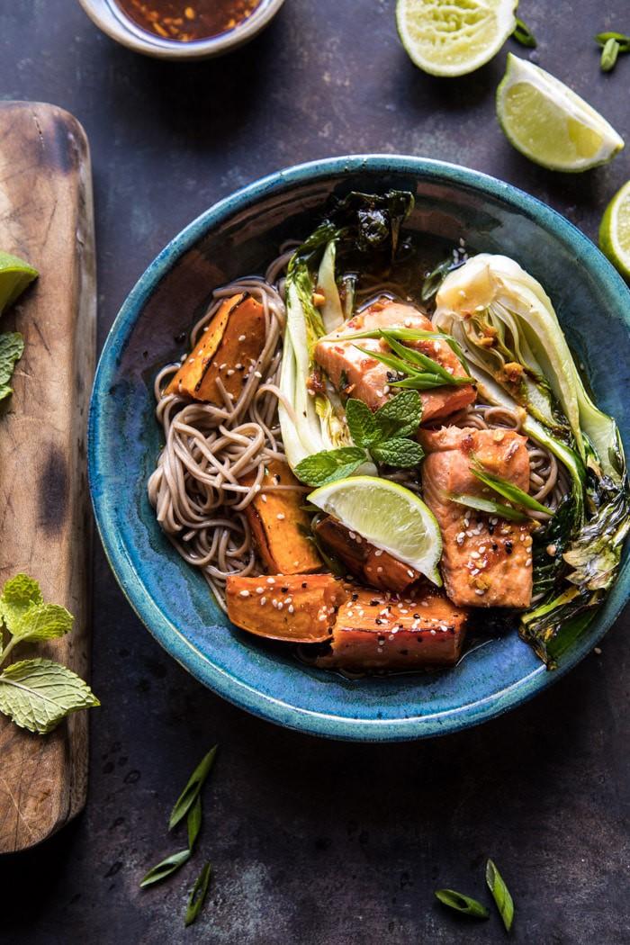 Roasted Sweet Potato and Salmon Soba Noodle Bowl | halfbakedharvest.com @hbharvest