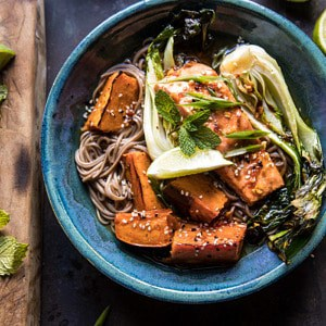 Roasted Sweet Potato and Salmon Soba Noodle Bowl.
