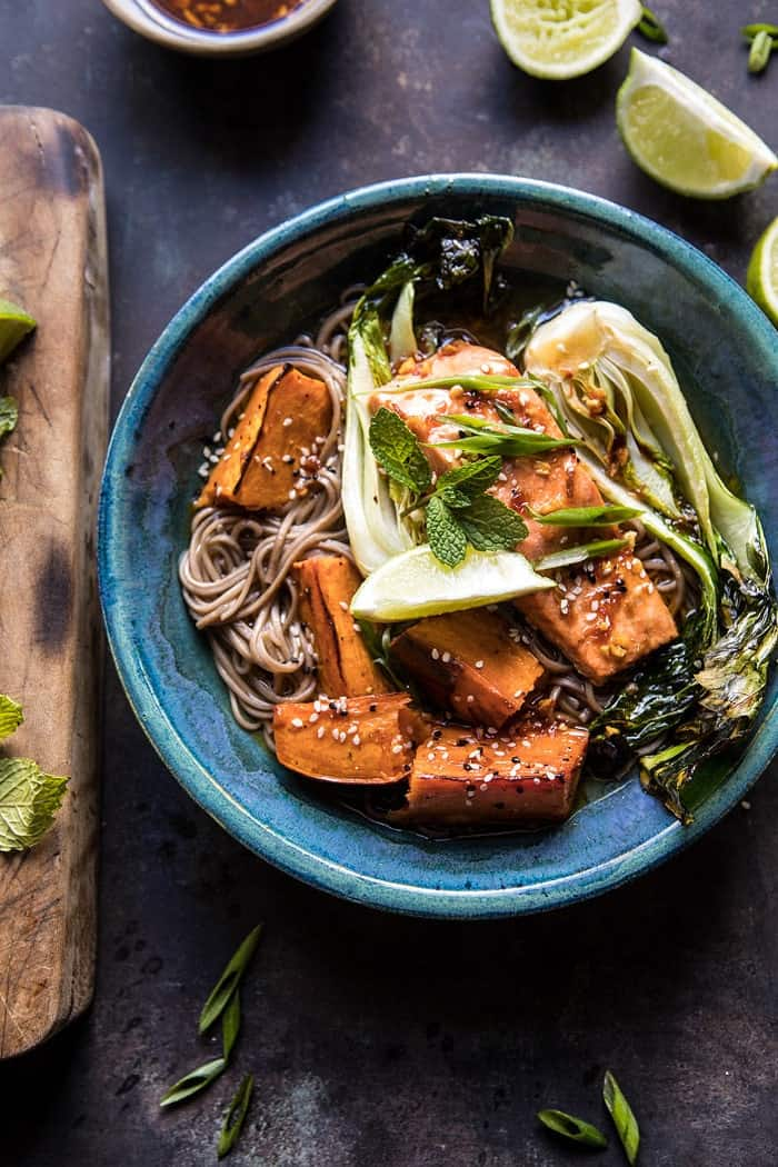 Roasted Sweet Potato and Salmon Soba Noodle Bowl | halfbakedharvest.com @hbharvest #healthy #bowls #salmon #quick #easy