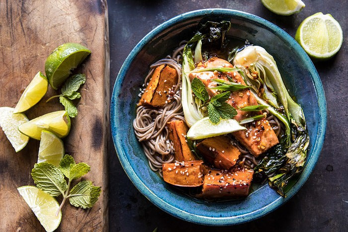 Roasted Sweet Potato and Salmon Soba Noodle Bowl | halfbakedharvest.com @hbharvest