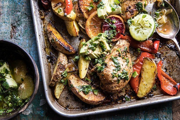 Sheet Pan Cuban Chicken With Citrus Avocado Salsa | halfbakedharvest.com #sheetpan #cuban #chicken #recipes #easy