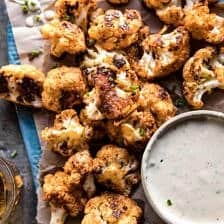 Spicy Cauliflower Cheese Bites with Tahini Ranch.