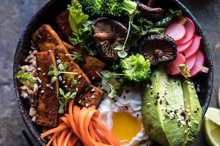 Superfood Bibimbap with Crispy Tofu | halfbakedharvest.com #vegan #healthy #korean #bowl #recipes