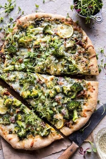 Whole Wheat Lemon Roasted Broccoli Pizza.