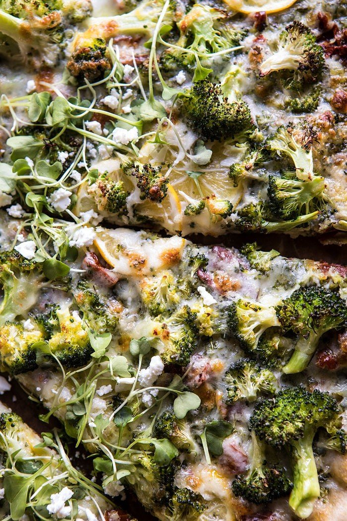 Whole Wheat Lemon Roasted Broccoli Pizza | halfbakedharvest.com #healthy #pizza #recipes #broccoli