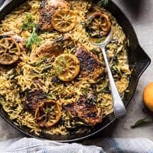 One Skillet Lemon Butter Chicken and Orzo.
