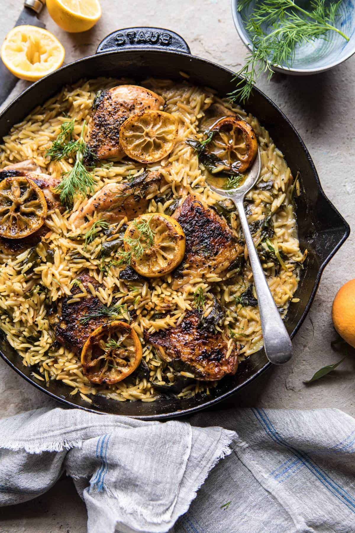 One Skillet Lemon Butter Chicken and Orzo | halfbakedharvest.com #chicken #recipes #easy #skillet