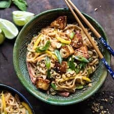 Better Than Takeout 20 Minute Peanut Noodles with Sesame Halloumi.