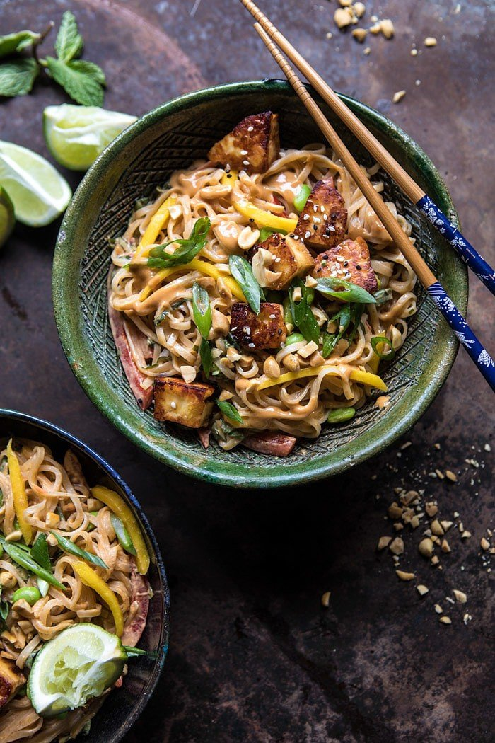 Better Than Takeout 20 Minute Peanut Noodles with Sesame Halloumi | halfbakedharvest.com #quick #easy #noodles #Thai #recipes
