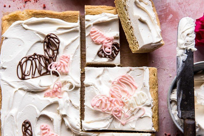 Browned Butter Sugar Cookie Bars with White Chocolate Frosting | halfbakedharvest.com #valentinesday #cookies #recipe #easy