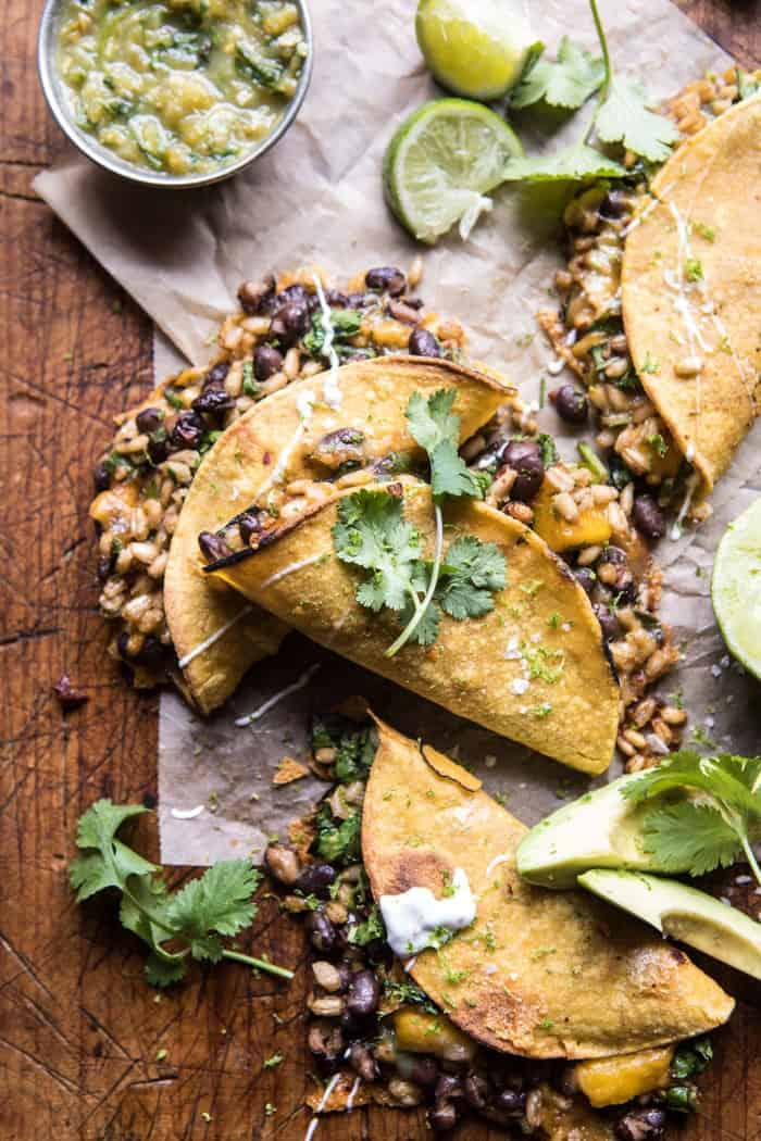 Chipotle Black Bean, Brown Rice, and Mango Quesadillas   halfbakedharvest.com #mexican #healthy #recipes