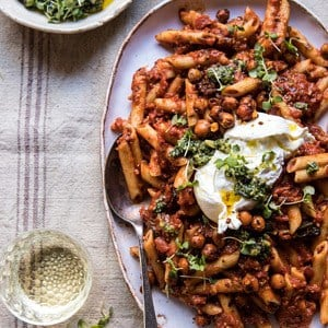 Easiest Tomato Basil Penne with Spicy Italian Chickpeas.