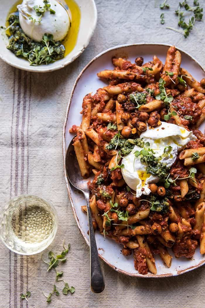 Easiest Tomato Basil Penne with Spicy Italian Chickpeas | halfbakedharvest.com #recipes #pasta #dinner #easy #quick