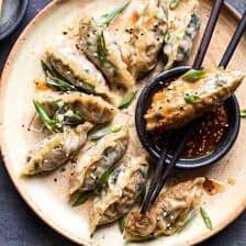 Homemade Vegetable Potstickers with Toasted Sesame Honey Soy Sauce.