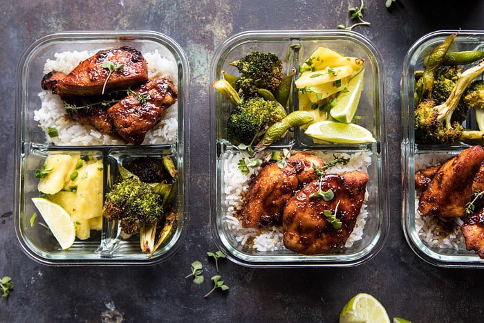Meal Prep Tropical Jerk Chicken and Gingered Broccoli | halfbakedharvest.com #mealprep #recipes #chicken #healthy