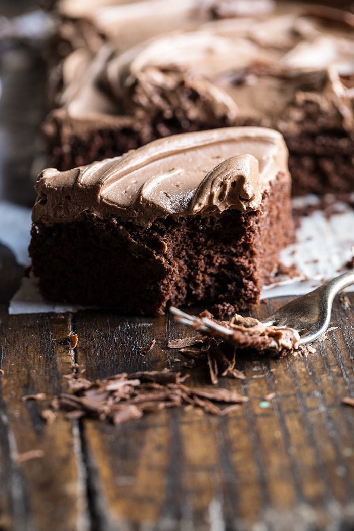 One Bowl Chocolate Sheet Cake with Milk Chocolate Fudge Frosting | halfbakedharvest.com #cake #chocolate #birthday #valentinesday