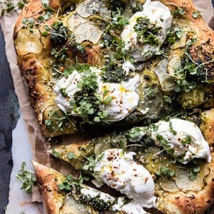 Pesto Potato and Burrata Pizza.