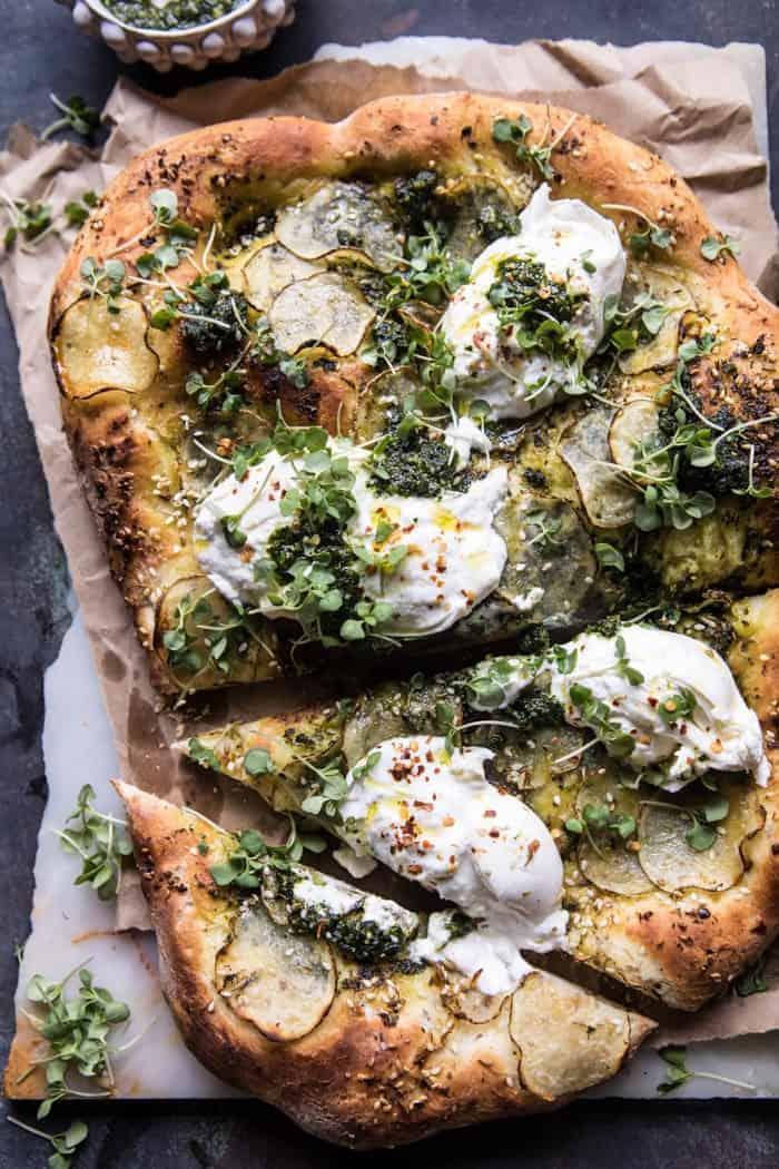 Pesto Potato and Burrata Pizza | halfbakedharvest.com #pizza #easy #recipes #spring