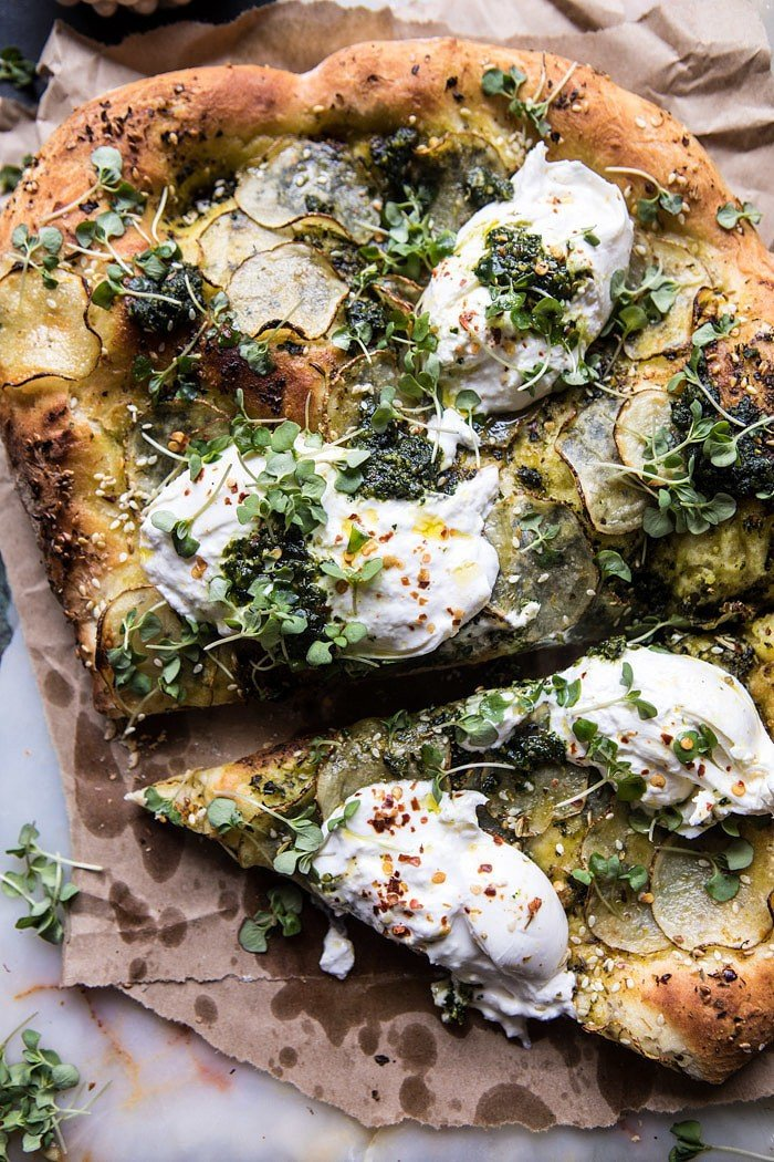 Pesto Potato and Burrata Pizza | halfbakedharvest.com #pizza #easy #recipes #spring
