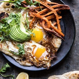 Ricotta Naan with Fried Eggs and Sweet Potato Fries.