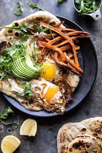 Ricotta Naan with Fried Egg and Sweet Potato Fries | halfbakedharvest.com #brunch #recipes #healthy