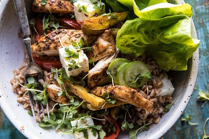 Roasted Greek Chicken and Farro Salad with Oven Fries #healthy #salad #Greek #chicken #easy