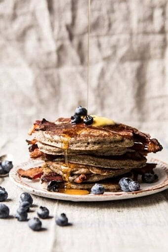 Rye Bacon Pancakes with Blueberries | halfbakedharvest.com #pancakes #brunch #bacon #recipes