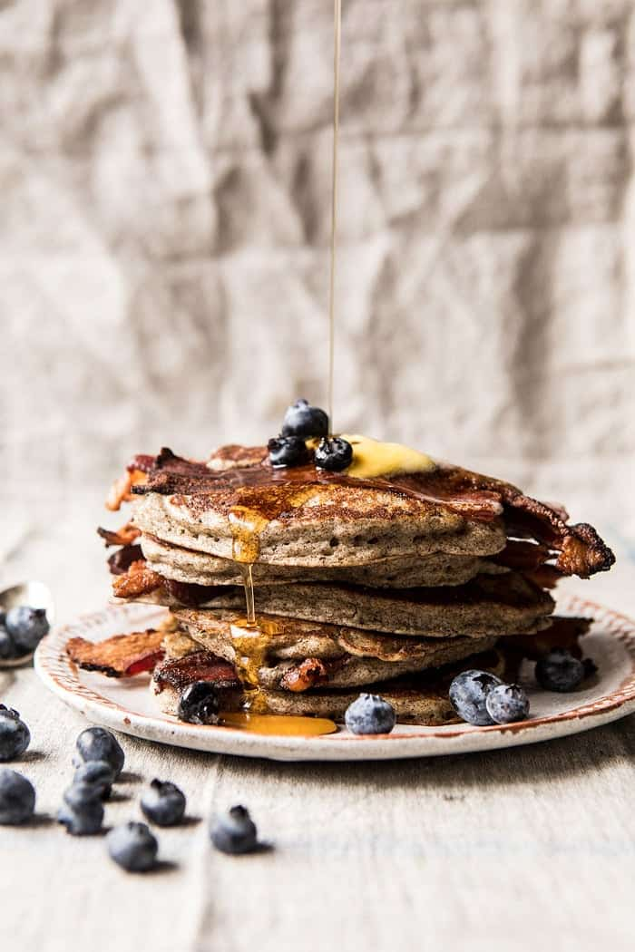 Rye Bacon Pancakes with Blueberries.