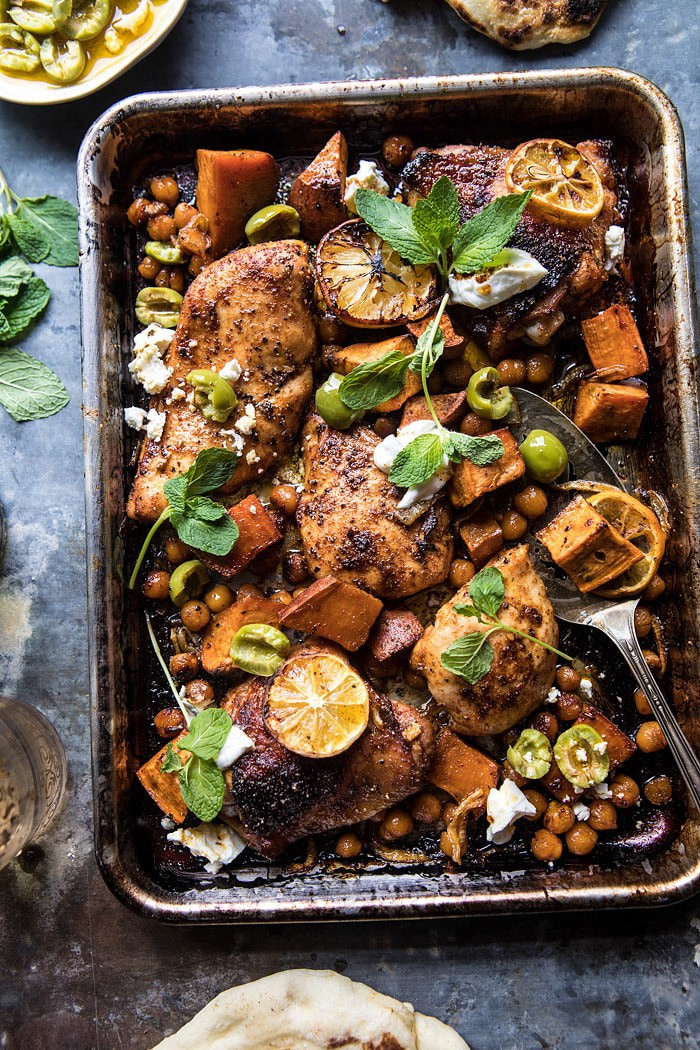 Sheet Pan Harissa Chicken with Chickpeas and Sweet Potatoes | halfbakedharvest.com #sheetpan #easy #dinner #chicken